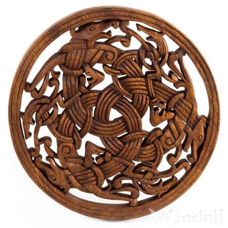 Wikinger Wanddeko ~ TARAN ~ Ø 29 cm - Drachen Triade - Handarbeit aus Holz - Windalf.de