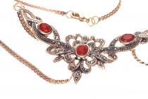 Mittelalterliches Collier ~ ALADRIA ~ h: 4.5 cm - Gothik-Schmuck - Trachtenschmuck mit Roter Kristall - Bronze - Windalf.de