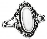 Vintage Damen Ring ~ LÎNA ~ 14 mm - Mittelalter Schmuck mit weißem Perlmutt - Midi Ring - Silber - Windalf.de