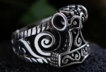 Wikingerring ~ THORWALL ~ 2.1 cm - Vikings Thorshammer - 925 Sterlingsilber - Windalf.de