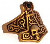 Wikinger Ring ~VALHALLA ~ Thorshammer mit Totenkopf - h: 2,2 cm - Bronze - Windalf.de