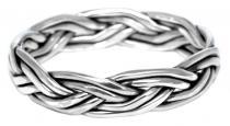Wikingerring ~ NORTHRI ~ h: 0.5 cm - Handgeflochten - Silber - Windalf.de