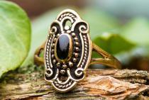 Wikinger Ring ~ TÂNIA ~ Onyx - Vikings - Bronze - Windalf.de