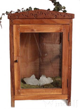 Vintage Holz Vitrine ~ AUREJA ~ 62 cm - Handarbeit mit keltischen Knoten - Minibar - Holzschrank mit Glastür - Windalf.de