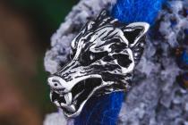Haar- & Bartschmuck ~ FENRAR ~ b: 1.2 cm - Wolfskopf - Vikings - Silber - Windalf.de