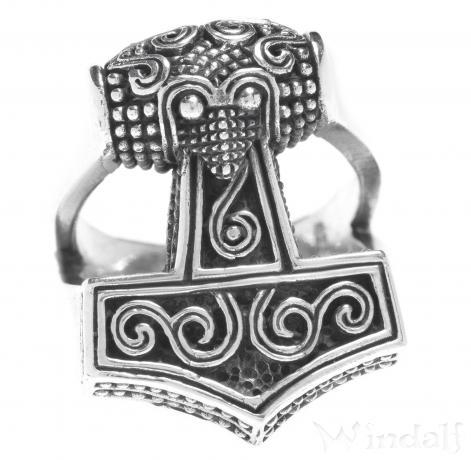 Wikinger Ring ~ THYR ~ 2 cm - Vikings Thorshammer-Ring - Silber - Windalf.de