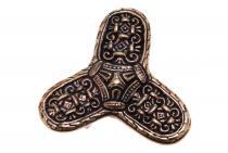 Wikinger Fibel ~ KÀRLíR ~ h: 4.9 cm - Triangel Brosche - Hochwertige Bronze - Windalf.de