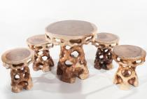 Sitzgruppe ~ NEVILA ~ Set - Tisch mit 4 Stühlen - - Windalf.de