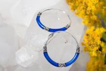 Tief Blaue Creolen ~ Lúsía ~ 2 cm - Silber - Windalf.de