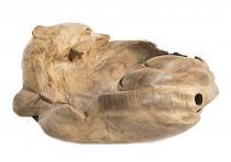 Holz Schale ~ DELFIWEL ~ 37 cm - Geschenkkorb - Delfin im Ozean - Unikat - Windalf.de
