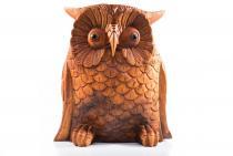 Deko Holzfigur Eule ~ RUDY ~ 20 cm - aus Holz - Windalf.de