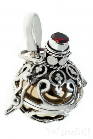 Anhänger ~ SILIA ~ Klangkugel mit Granat - Silber - Windalf.de