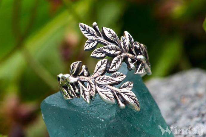 Ring ~ BETELI ~ h: 1.9 cm - Zarte Blätter - Silber - Windalf.de
