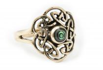 Keltischer Ring ~ TAVIA ~ 16 mm - Celtic Knoten & Paua Muschel - Bronze - Windalf.de