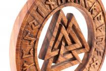 Wikinger Wand Bild Deko ~ VALKNUT ~ Ø 23 cm - Mit Runen - Asatru - Handarbeit aus Holz - Windalf.de