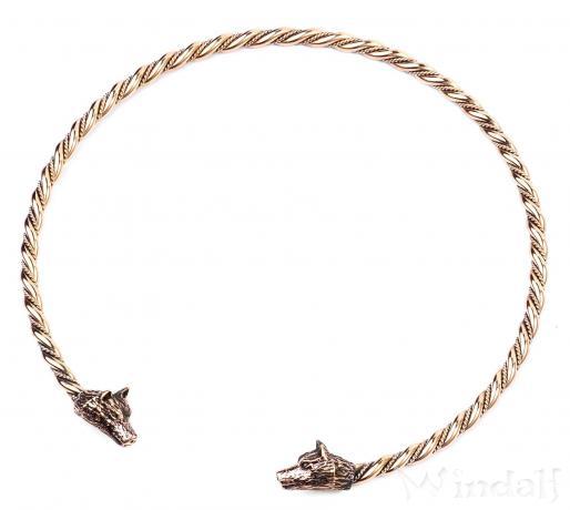 Männer Torques ~ WULF ~  Ø 14.5 cm - Halsschmuck - Odins Wölfe - Handarbeit aus Bronze - Windalf.de