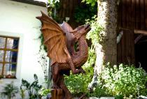 Drachen-Deko ~ AAHRHA ~ h: 96 cm - Garten Drachen Figur - Unikat - Handarbeit aus Holz - Windalf.de