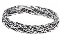 Schmaler Wikinger-Ring ~ RISE ~ Flecht Muster - Handarbeit - Silber - Windalf.de