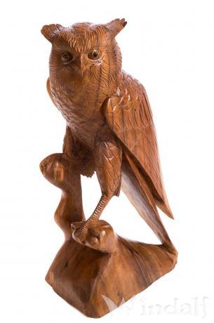 Deko Holz Eule ~ RAYA ~ h: 53 cm - Garten Eulen Figur - Gartendeko - Windalf.de