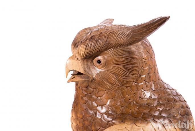 Deko Holz Eule ~ RAYAN ~ h: 100 cm - Eulen Figur - Gartendeko - Handarbeit aus Holz - Windalf.de