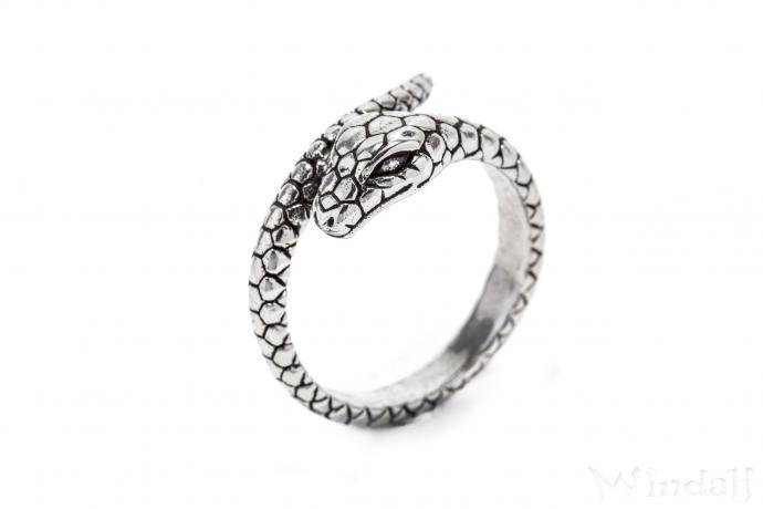 Zauber Ring ~ BUARA ~ h: 1.1 cm - Schlange Midgards - Antik Silber - Windalf.de