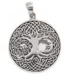 Celtic Schmuck Anhänger ~ BARA ~ Ø 3 cm - Lebens-Baum mit Sonne & Mond - Silber - Windalf.de