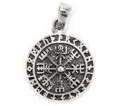 Kleiner Wikinger-Anhänger ~ TALIZAR ~ Ø 1.7 cm - Vegvisir Kompass mit Runen - Silber - Windalf.de