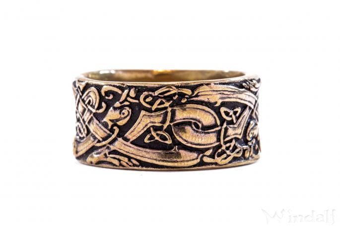 Wikingerring ~ RAVAN ~ h: 1 cm - Odins Wölfe - Vikings - Wilde Jagd - Antik Bronze - Windalf.de