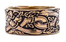 Breiter Wikingerring ~ RAVAN ~ h: 1 cm - Odins Wölfe - Vikings - Wilde Jagd - Antik Bronze - Windalf.de