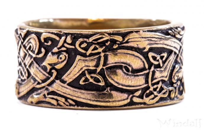Breiter Wikingerring ~ RAVAN ~ 1 cm - Odins Wölfe - Vikings - Wilde Jagd - Antik Bronze - Windalf.de