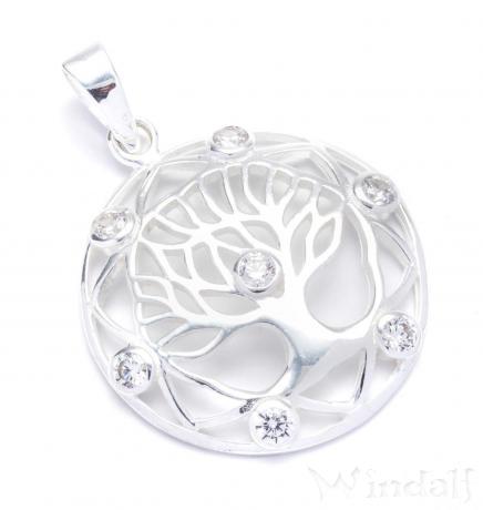 Harmony Anhänger ~ VENICE ~ Ø 2.7 cm - Baum des Lebens - Mit weißen Steinen - Silber - Windalf.de