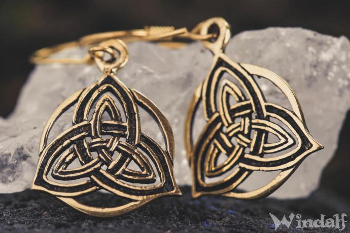 Pagan Ohrhänger ~ RHOANNON ~ 3.3 cm - Keltische Trinität - Bronze - Windalf.de