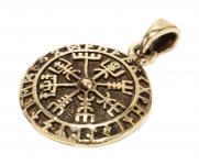 Wikinger-Anhänger ~ TALIZAR ~ Vegvisir - Wikinger-Kompass mit Runen - Bronze - Windalf.de