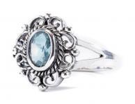 Mittelalter Ring ~ CISCANDRA ~ 1.3 cm - Blume mit hellblauen Stein - Vintage Silber - Windalf.de