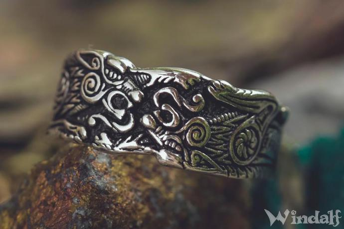 WINDALF Vikings Band Ring RAVING 10 mm Odins Wölfe Wilde Jagd Bandring Vintage Silber