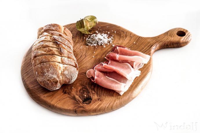 Schneidbrett ~ PING PONG ~ l: 34 cm - Frühstücksbrett - Handarbeit aus Holz - Windalf.de