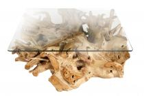Rustikaler Wohnzimmertisch ~ ABIGAIL ~ Länge: 100 cm - Großer Couchtisch mit Glasplatte - Handarbeit aus Teak - Windalf.de