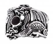 Drachen-Ring ~ FENURA ~ h: 1.9 cm - Drachen mit schwarzem Stein - Vintage Silber - Windalf.de