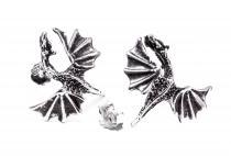 Große Ohrstecker ~ DRAGON ~ b: 2 cm - Geflügelter Drache - Antik Silber - Windalf.de