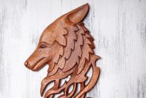 Wolfs-Kopf Wand Deko ~ YURI ~ h: 40 cm - Handarbeit aus Holz - Windalf.de