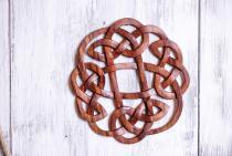 Celtic Wand Deko ~ FLORY ~ Ø 25 cm - Keltischer Knoten - Pagan - Handarbeit aus Holz - Windalf.de