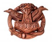 Thorshammer Wand Deko ~ HUGIN & MUNIN ~ h: 24 cm - Raben mit Runen - Handarbeit aus Holz - Windalf.de