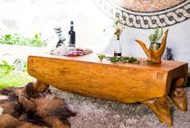 Natürliche Sitzbank & Holztisch ~ ADAIR ~ l: 127 cm - Großer Couchtisch - Handarbeit aus Soarholz - Windalf.de