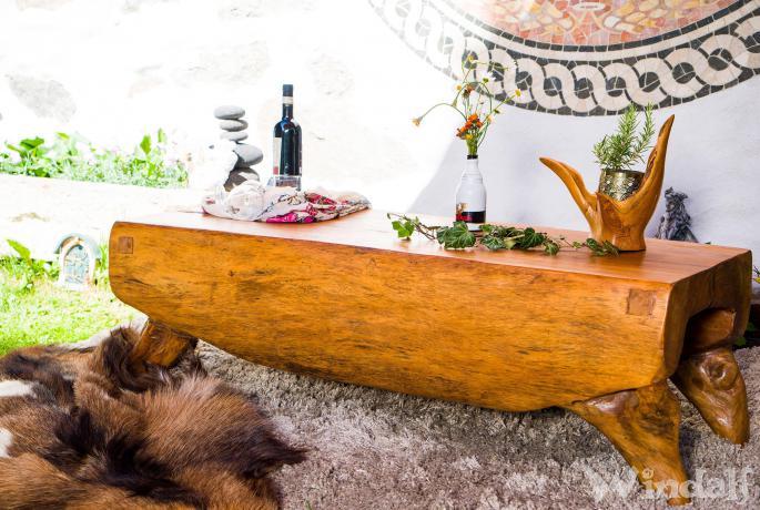 Rustikale Sitzbank & Holztisch ~ ADAIR ~ 127 cm - Großer Vintage Couchtisch - Handarbeit aus Soarholz - Windalf.de