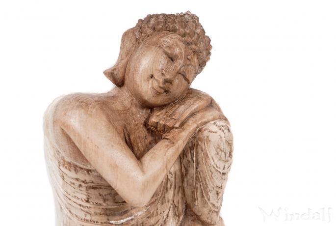 Relax Happy Buddha ~ SIDDHARTHA ~ h: 22 cm - Deko Holz Figur - Glücksbringer - Handarbeit aus Holz - Windalf.de