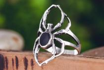 Spinnen Ring ~ SPY ~ h: 2.6 cm - mit schwarzem Onyx - Vintage Silber - Windalf.de