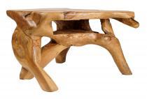 Kleiner Couchtisch ~ SIMON ~ B: 80 cm H: 46 cm - Gartentisch mit Ablage - Unikat - Windalf.de