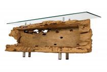 Antiker Couchtisch ~ AROZA ~ B: 155 cm H: 57 cm - Wohnzimmertisch mit Glas - Unikat - Windalf.de