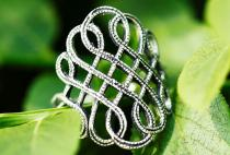 Wikinger Damen Ring ~ LUCIANA ~ 23 mm - Freyas Fackel - Ornamentik - Silber - Windalf.de