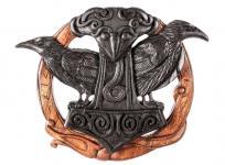 Vikings Wand Deko ~ HUGIN & MUNIN ~ 23 cm - Raben mit Runen & Thorshammer - Handarbeit aus Holz - Windalf.de